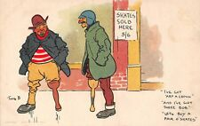 POSTCARD   COMIC   TOM  BROWNE   JOLLY  SKATERS    I've  got  'alf  a  Crown ...