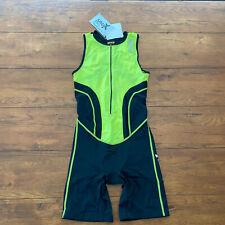 Sparx Mens Medium TriSuit Sleeveless Black Yellow Triathlon Skinsuit Racesuit M