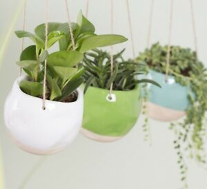 Hanging Dip Dye Plant Pot Ceramic Houseplant Planter Garden Gift Boho Chic Home