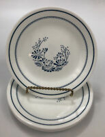 "Set of 4 Corelle Corning COLONIAL MIST White Blue Bread Dessert Plates 6.75"" AA"