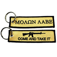 We The People ACU Tactical Embroidered Canvas Luggage Label Key Chain Ring Key