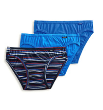 Men's Jockey 3-pack Blue Colors Elance Bikini Briefs Underwear 100% Cotton