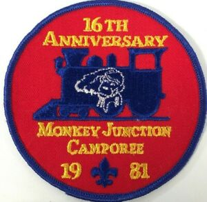 16th Anniversary Monkey Junction Camporee 1981 Boy Scouts Patch Train Locomotive