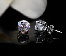 5mm 4 Prong Set In Gift Box Sterling Silver 925 Diamond Stud Earrings 1 Ctw