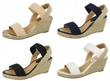 34b4204984e2 F2r270 Ladies Savannah Rope Wedge Heel Open Toe Elasticated Slingback  Sandals White UK 5 Standard