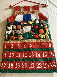 Santa's Workshop Christmas Countdown Advent Calendar Fabric Wall Hanging 24 Toys