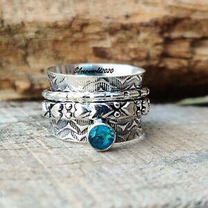 Blue Topaz Spinner Ring 925 Sterling Silver Plated Handmade Ring Size 9 ss102