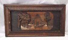 Old Antique Hand Carved Oak WALL HANGING Picture House & Trees Signed H. MEIER