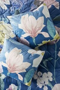 NWOT Anthropologie Ella Blue Velvet Floral Euro Sham Single