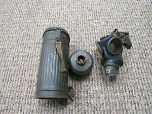 WWII German gas mask with filter and carrier