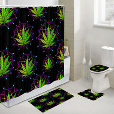 Marijuana Leaves & Mandala Shower Curtain Toilet Cover Rug Bath Mat Contour Rug