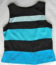 Kathie Lee ladies sleeveless blouse striped blue party top UK womens size 8