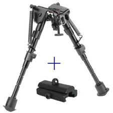 "6"" to 9"" Compact Spring Return Sniper Hunting Rifle Bipod + Picatinny Rail Mount"