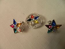VINTAGE SET OF PRETTY STAR PIN WITH STONES AND MATCHING EARRINGS - NICE