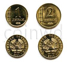 Tajikistan 2 coins set 2011 1-2 dirhams UNC (#322)