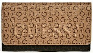 GUESS RIGDEN WALLET Brown Logo Embossed Clutch Purse BNWT AUTHENTIC