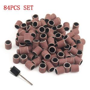 """3/8"""" Sanding Drum Bands Kit Grit #60~600 Mandrel Sleeves for Polishing 84PC/set"""