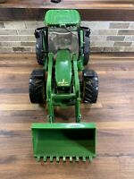 "John Deere Ertl Green Plastic Toy Tractor w/ Loader  17"" Long USED"