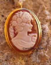 Vintage Hand Carved Shell Cameo pendant and brooch Gold 18k  MARKED