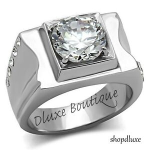 MEN'S ROUND CUT SIMULATED DIAMOND SILVER STAINLESS STEEL RING SIZE 8-13