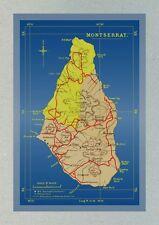 Island of Montserrat Modern Postcard of Older Map (Reference 195)