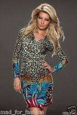 Sexy gewickelt Look Kleid in multicolor. UK 8.10.12. EU 36.38.40