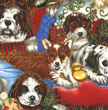 "Christmas Dogs 20 4"" fabric squares puppies quilt cotton quilting holiday decor"