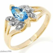 DIAMOND ACCENTS TOPAZ SOLITARE RING 14K YELLOW GOLD