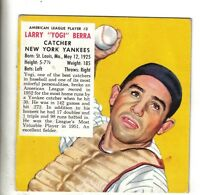 "1953 Red Man Baseball Card AL#3 ""Yogi"" Berra New York Yankees VG crease  w/o Tab"