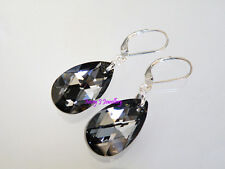 Glittery BLACK Crystal Teardrop Earrings Swarovski Elements 925 Sterling Silver