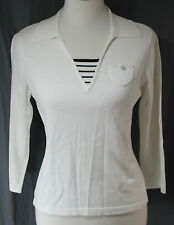 St. John's Bay, PS, White/ Stripe Inset ¾ Sleeve Sweater, New without Tags