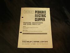 Woseley Pedigree Electric Clipper Spare Parts Manual