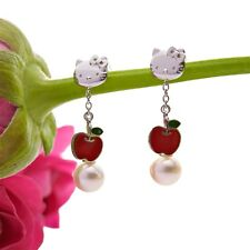 Hello Kitty Silver 925 x Natural Akoya Cultured Pearl Apple Piereced Earring F/S