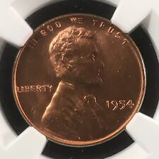 1954 1C Rd Lincoln Wheat One Cent Ngc Ms67Rd 2713913-001c