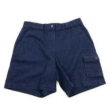 LRL Ralph Lauren Cargo Shorts Womens Size 8 High Rise Navy Blue Khaki Flat Front