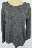 Eileen Fisher Sweater Top Medium Black Gray Space Dye Long Sleeve Lightweight