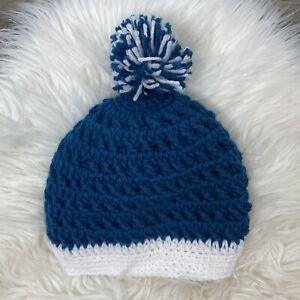Hand Knit Hat Beanie Womens Blue White Pom Pom
