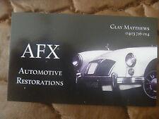 BUSINESS CARD...MG CAR...WHITE MGA...CHROME BUMPER..AFX AUTO RESTORATIONS