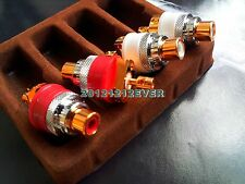 4Pc Copper Red Copper Plated Non Solder RCA Socket Connector CD Amp