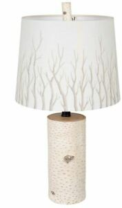 White Birch Wood Look Rustic Log Table Lamp with Detailed Branch Organic Shade