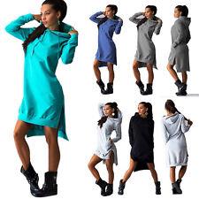 Womens Long Sleeve Hooded Mini Dress Jumper Hoodie Sweatshirt Casual Sweater Top