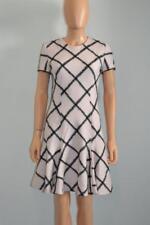 Christian Dior Pale Pink/Black Windowpane Print Wool SS Dress, Sz 40/ US 8
