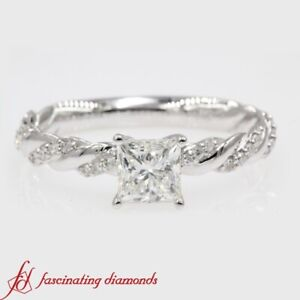 1 Carat Princess Cut Diamond Twisted Vine Engagement Ring With Round Accents
