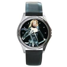 BRITNEY SPEARS Round Metal Watch Black Leather Band