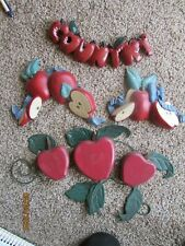 Homco Wood Apple & Metal Leaves Wall Hangings Country Plaque & Resin Plaques