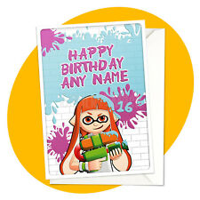 Inkling Girl - PERSONALISED BIRTHDAY CARD - Splatoon personalized gamer greeting