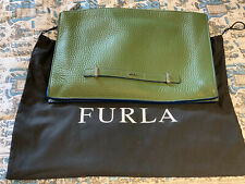 Genuine Luxury Furla Leather Travel Bag In Racing Green- For Men And Women