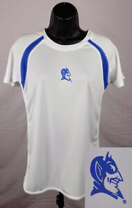 Duke Blue Devils Shirt Ladies Large White Workout Shirt Impact Gear NCAA ST45