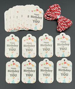 25 Happy Birthday To You Gift Tag Labels 5cm x 3cm Including Red & White Cord
