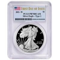 Presale - 2021-W Proof $1 American Silver Eagle PCGS PR70DCAM FDOI Flag Label